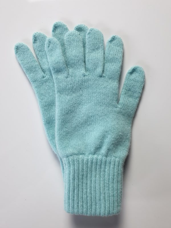 product image for a pair of aquamarine blue pure cashmere gloves made in Scotland - 600x800 - product id:980 - cashmereglovesandscarves.co.uk