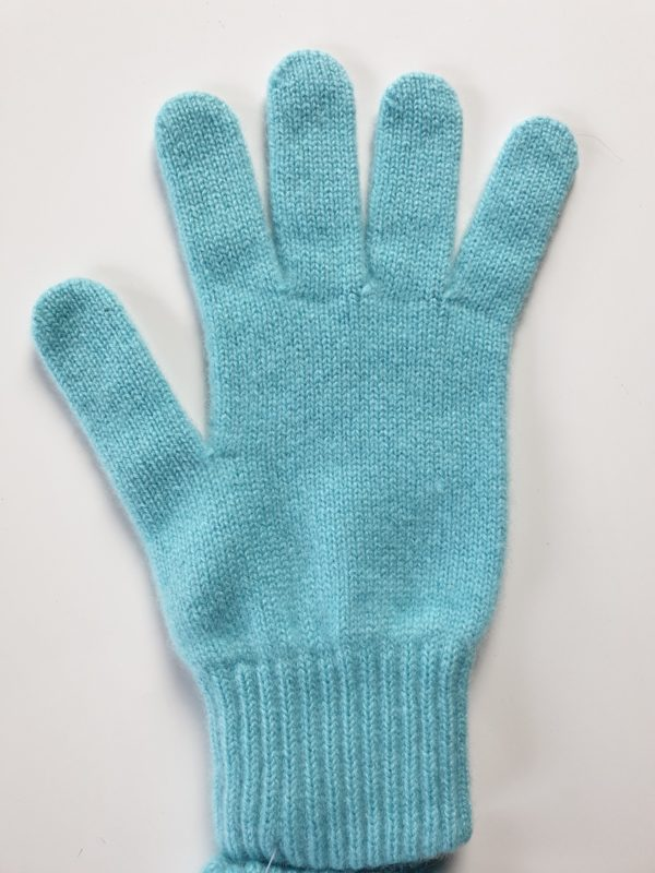 product image for a pair of light turquoise pure cashmere gloves made in Scotland - 600x800 - product id:981 - cashmereglovesandscarves.co.uk