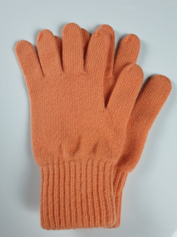 product image for a pair of apricot pale orange pure cashmere gloves made in Scotland - 600x800 - product id:904 - cashmereglovesandscarves.co.uk