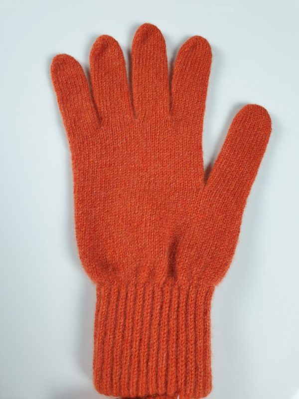 product image for a pair of tiger orange pure cashmere gloves made in Scotland - 600x800 - product id: 898 - cashmereglovesandscarves.co.uk