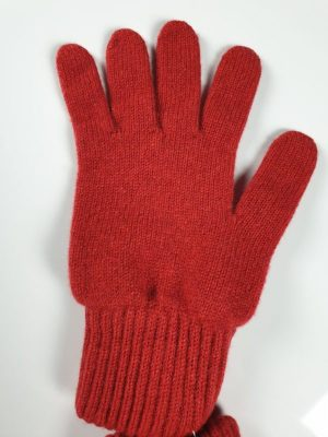 product image for a pair of regal red pure cashmere gloves made in Scotland - 600x800 - product id:912 - cashmereglovesandscarves.co.uk