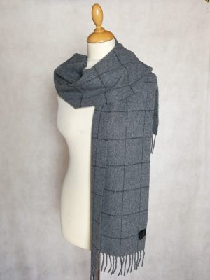 product image of a pure cashmere scarf in light grey checkered pattern 600x800 - cashmereglovesandscarves.co.uk