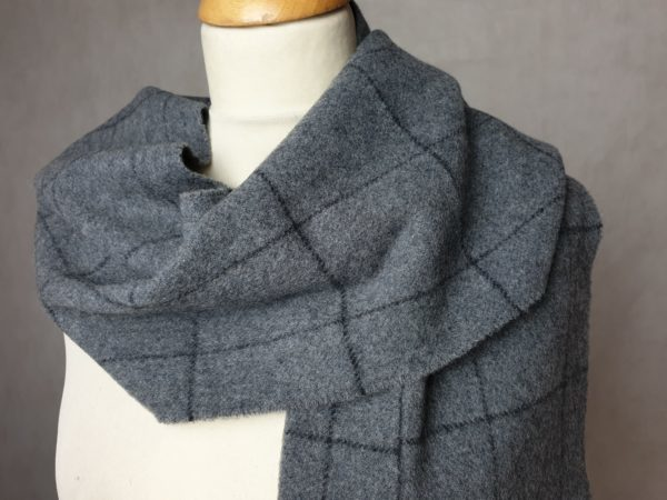 product image of a pure cashmere scarf in light grey checkered pattern 600x450 - cashmereglovesandscarves.co.uk