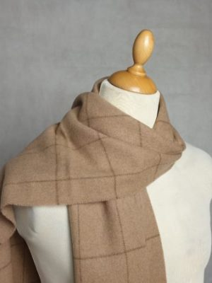 product image of a pure cashmere scarf in camel checkered pattern 600x450 - cashmereglovesandscarves.co.uk
