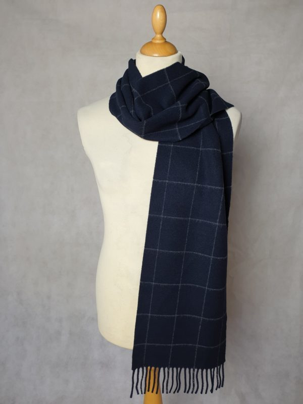 product image of a pure cashmere scarf in navy blue checkered pattern 600x800 - cashmereglovesandscarves.co.uk