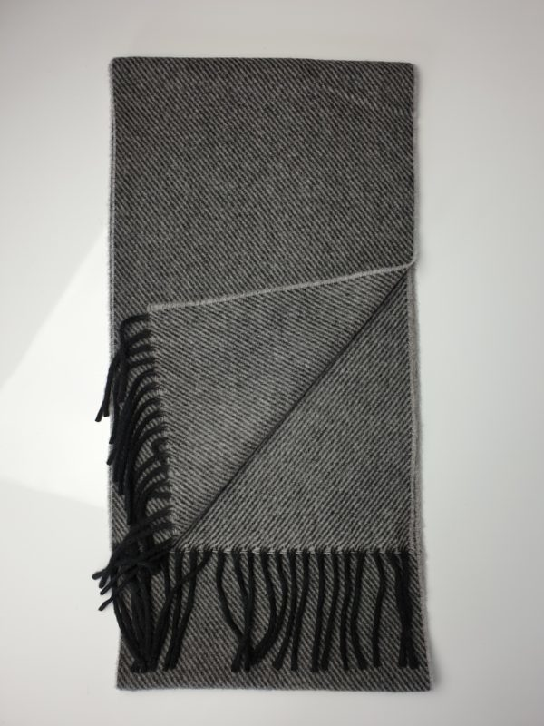 product image of a pure cashmere scarf in light grey and black stripes 600x800 - cashmereglovesandscarves.co.uk