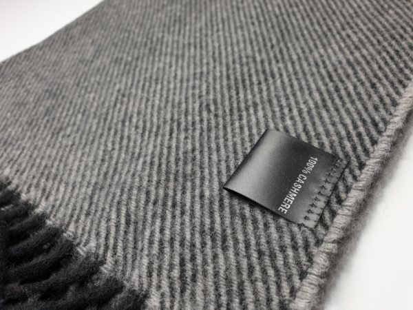 product image of a pure cashmere scarf in light grey and black stripes 600x450 - cashmereglovesandscarves.co.uk