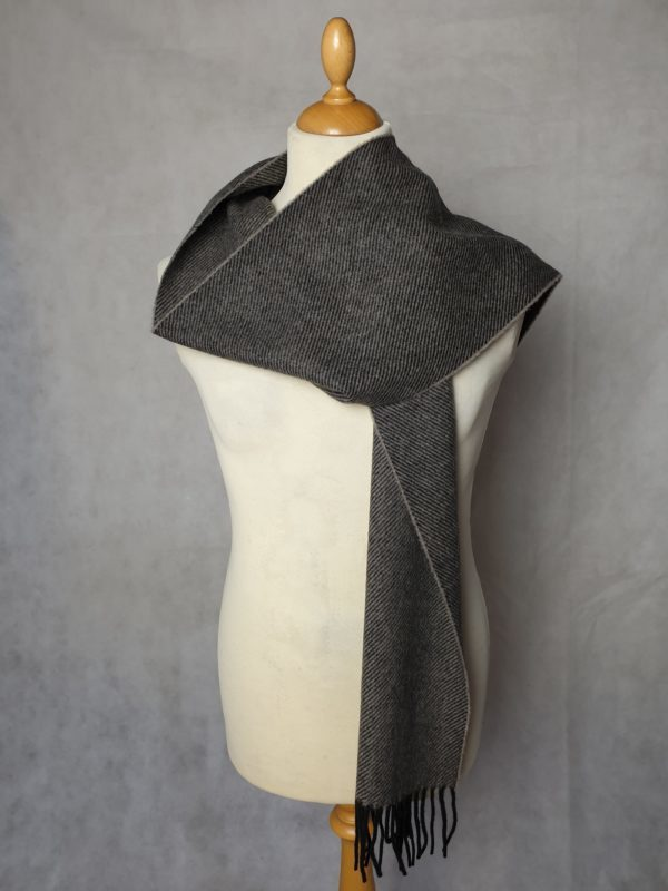 product image of a pure cashmere scarf in light brown and black stripes 600x800 - cashmereglovesandscarves.co.uk