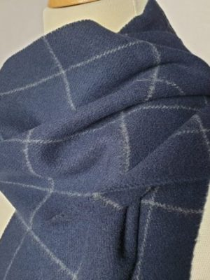 product image of a pure cashmere scarf in navy blue checkered pattern 600x450 - cashmereglovesandscarves.co.uk
