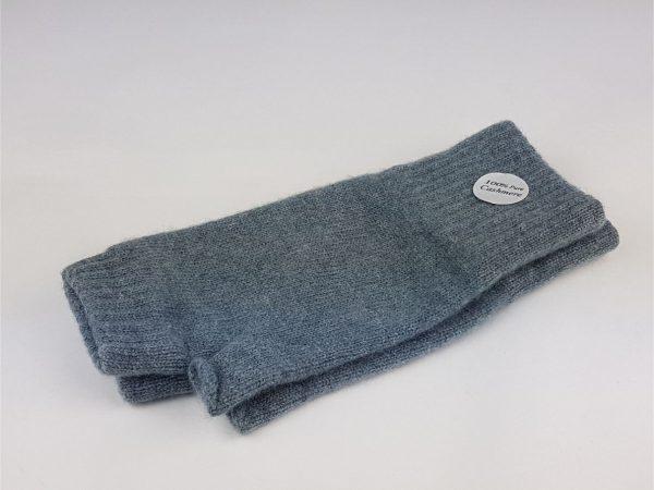 steel blue cashmere wrist warmers - cashmereglovesandscarves.co.uk