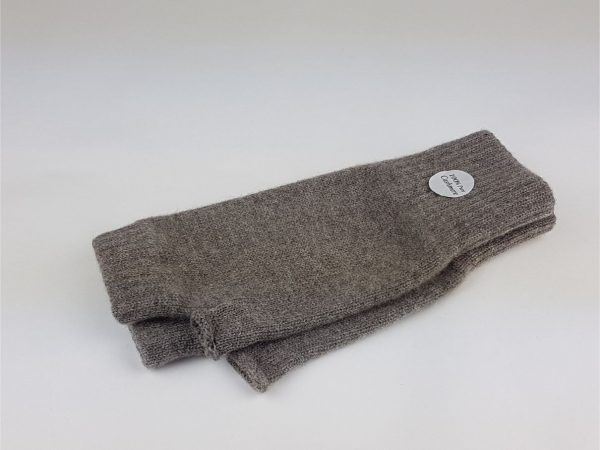 product image of cashmere wrist warmers in reindeer brown