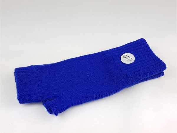 product image of a pair of cobalt blue cashmere wrist warmers