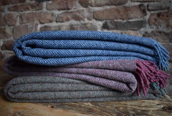 Recycled Wool Herringbone Blanket Throw | Made in Yorkshire