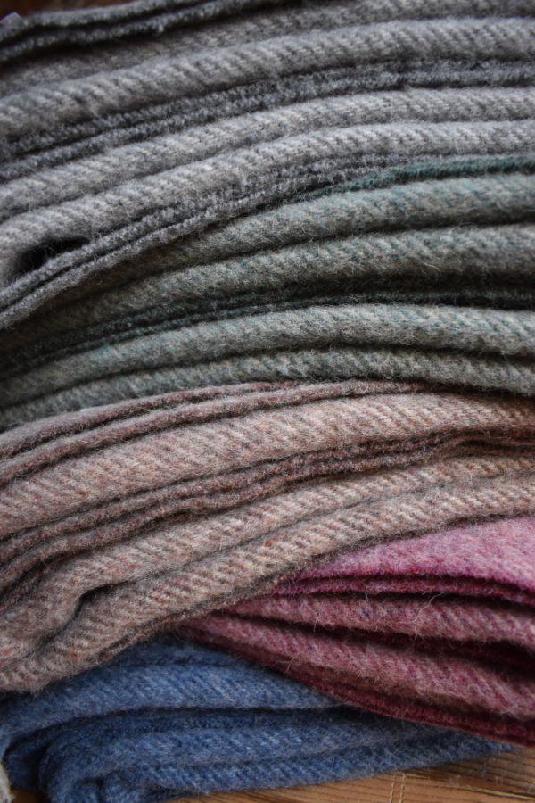 Recycled Wool Herringbone Blanket Throw   Made in Britain